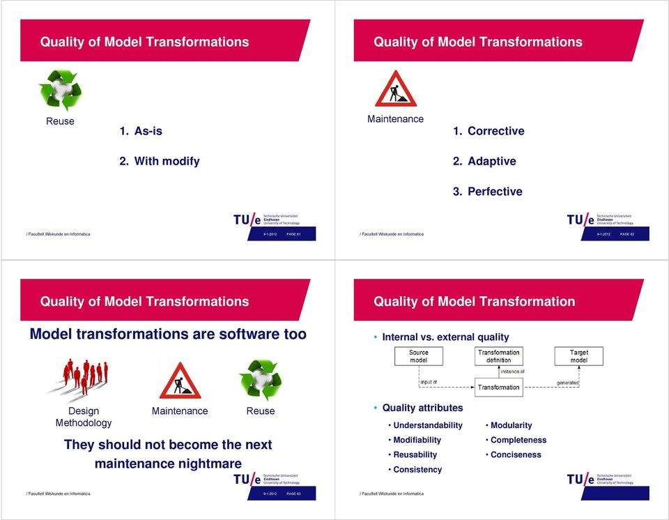 Perfective 9-1-2012 PAGE 61 9-1-2012 PAGE 62 Quality of Model Transformations Quality of Model Transformation are software too