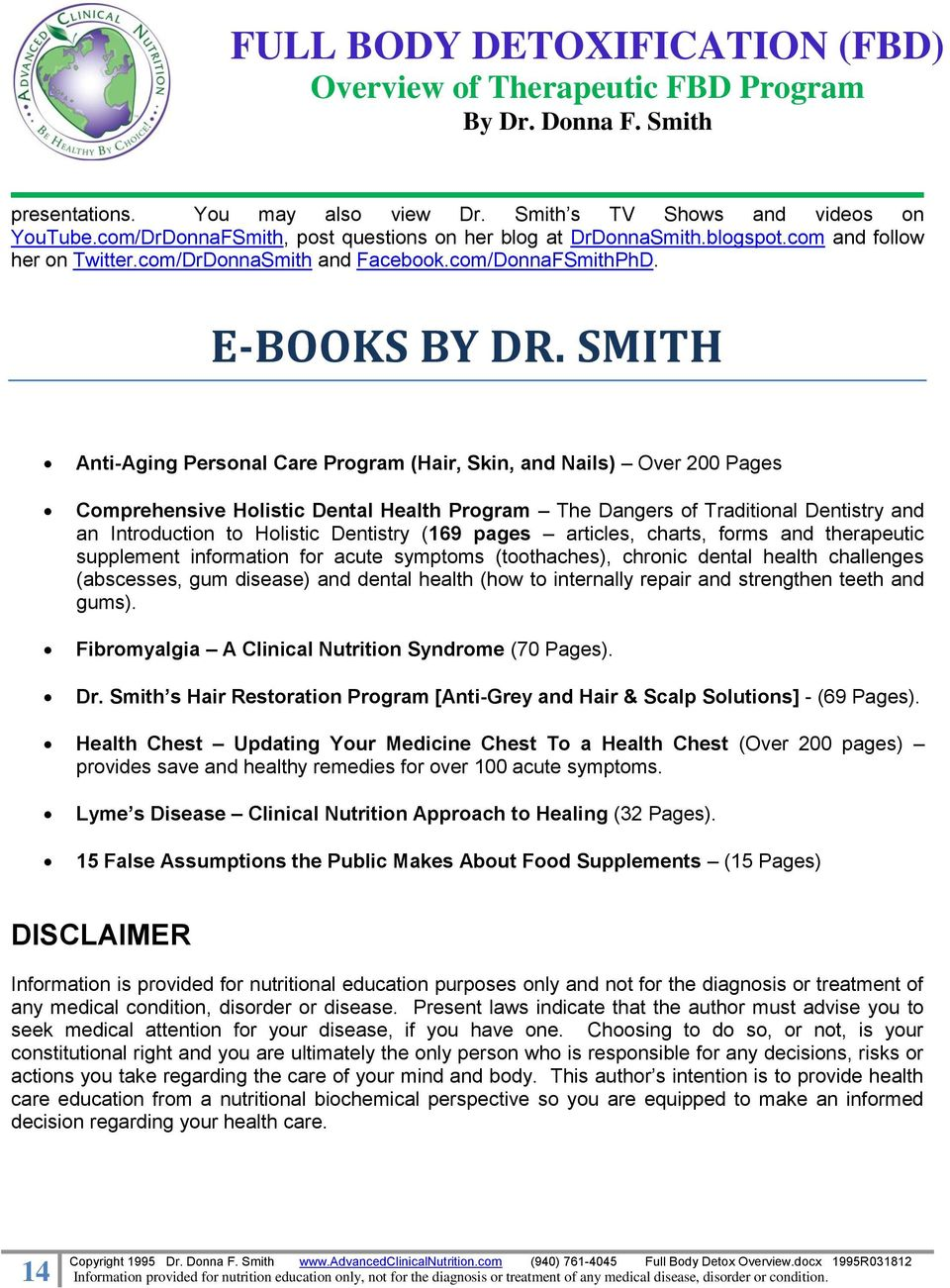 SMITH Anti-Aging Personal Care Program (Hair, Skin, and Nails) Over 200 Pages Comprehensive Holistic Dental Health Program The Dangers of Traditional Dentistry and an Introduction to Holistic