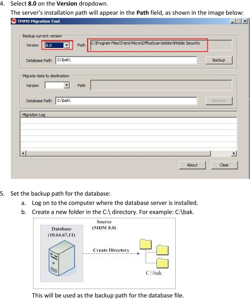 5. Set the backup path for the database: a.