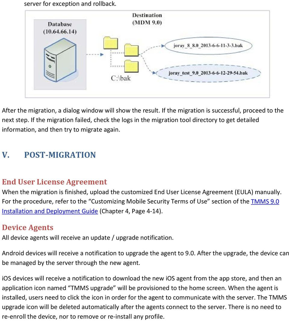 POST-MIGRATION End User License Agreement When the migration is finished, upload the customized End User License Agreement (EULA) manually.