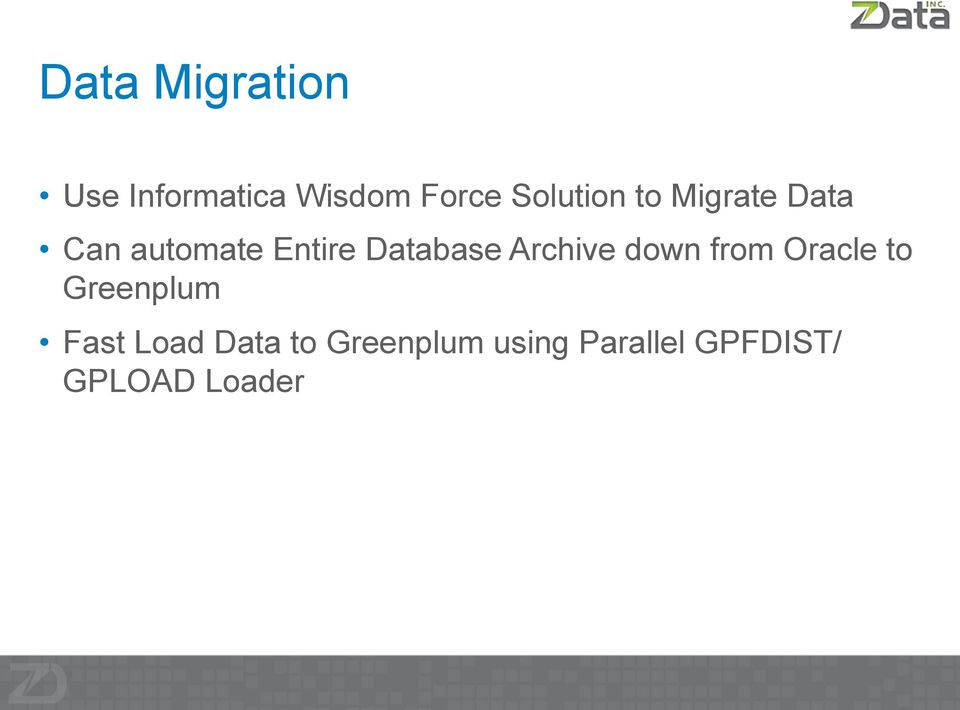 Database Archive down from Oracle to Greenplum