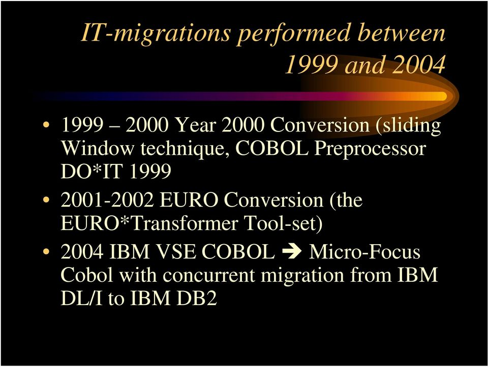 2001-2002 EURO Conversion (the EURO*Transformer Tool-set) 2004 IBM