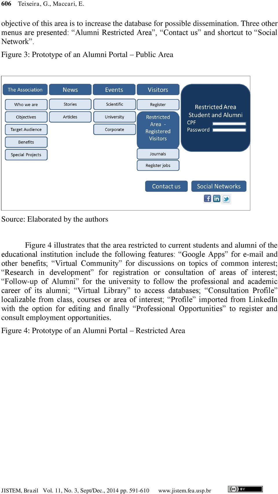 Figure 3: Prototype of an Alumni Portal Public Area Source: Elaborated by the authors Figure 4 illustrates that the area restricted to current students and alumni of the educational institution