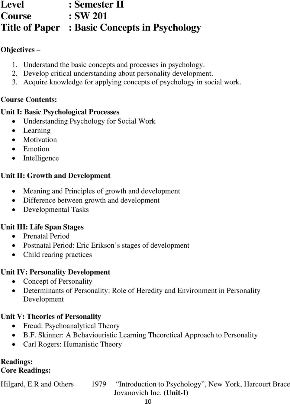 Course Contents: Unit I: Basic Psychological Processes Understanding Psychology for Social Work Learning Motivation Emotion Intelligence Unit II: Growth and Development Meaning and Principles of