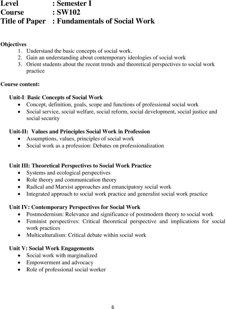 Orient students about the recent trends and theoretical perspectives to social work practice Course content: Unit-I: Basic Concepts of Social Work Concept, definition, goals, scope and functions of
