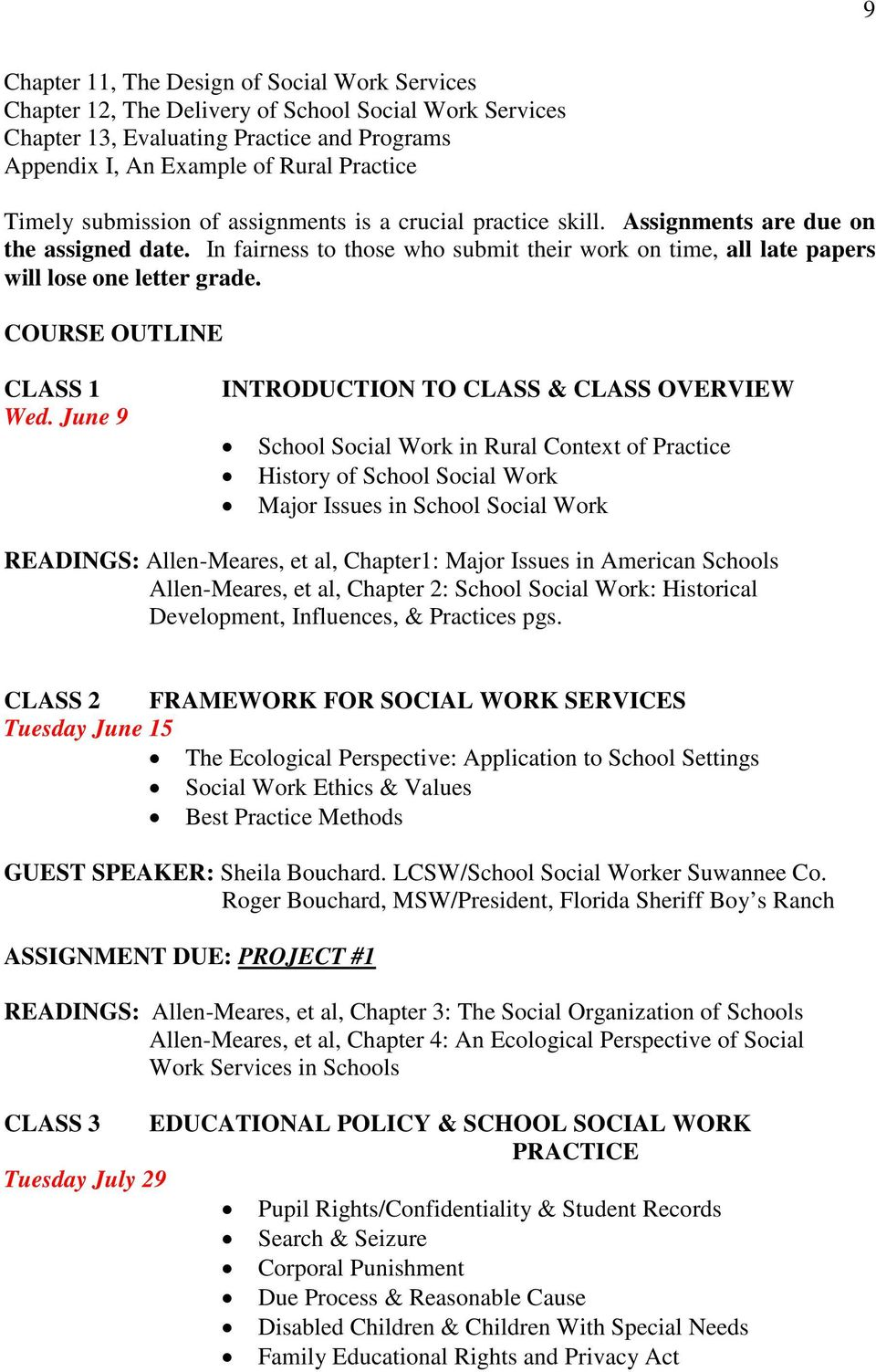 COURSE OUTLINE CLASS 1 Wed.