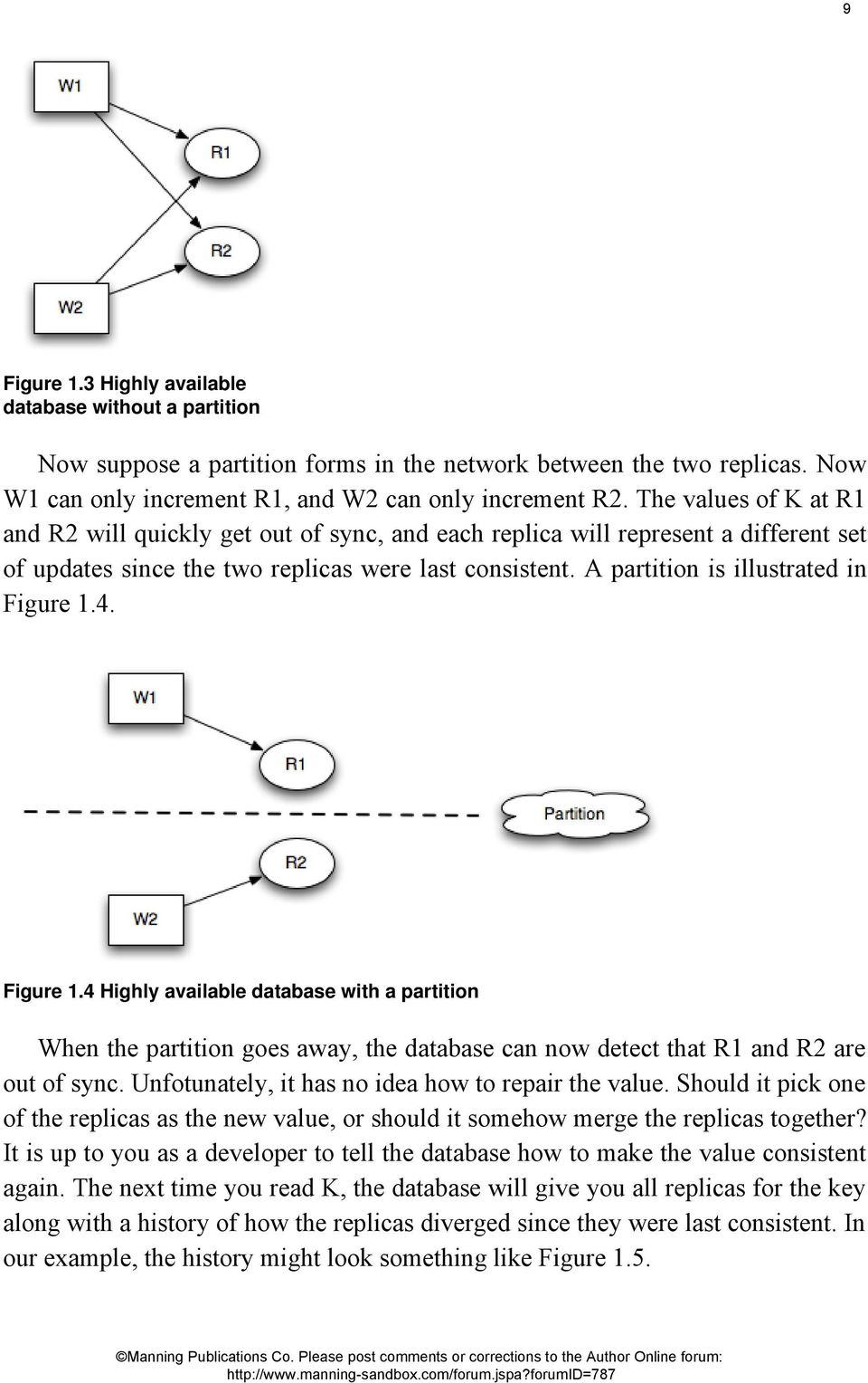 A partition is illustrated in Figure 1.4. Figure 1.4 Highly available database with a partition When the partition goes away, the database can now detect that R1 and R2 are out of sync.