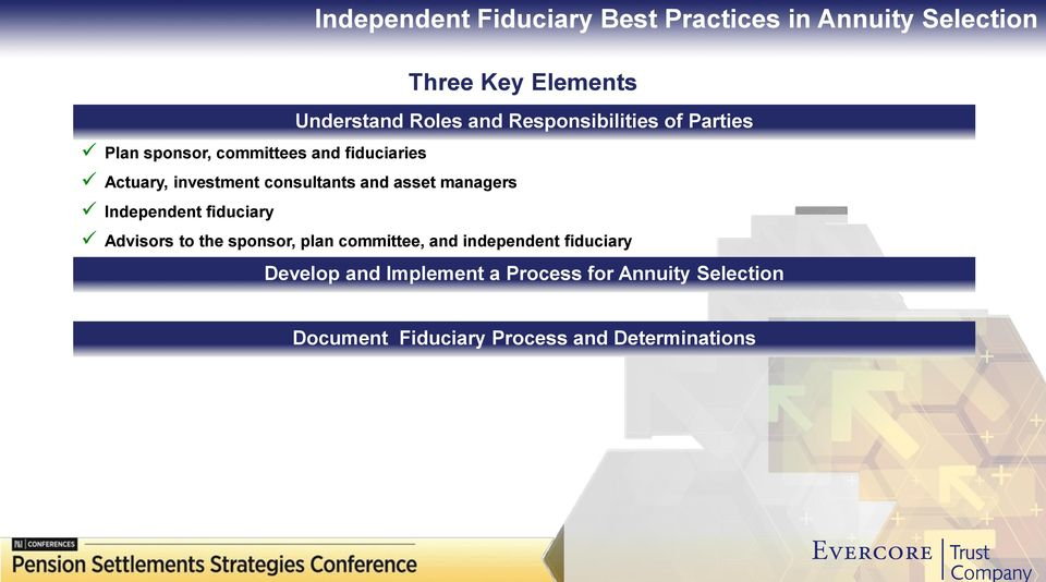 and asset managers Independent fiduciary Advisors to the sponsor, plan committee, and independent