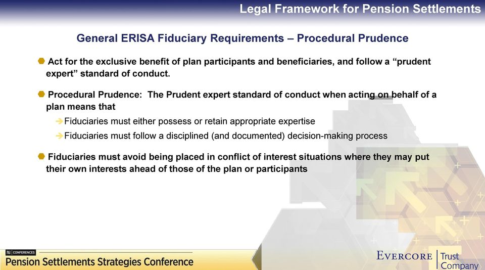 Procedural Prudence: The Prudent expert standard of conduct when acting on behalf of a plan means that Fiduciaries must either possess or retain