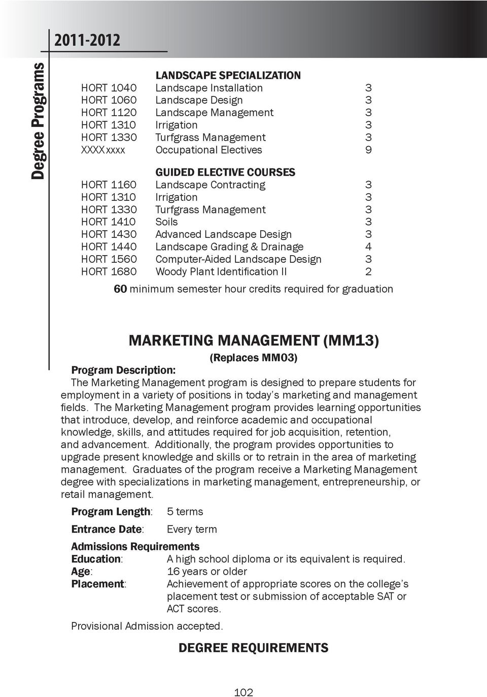HORT 1440 Landscape Grading & Drainage 4 HORT 1560 Computer-Aided Landscape Design 3 HORT 1680 Woody Plant Identification II 2 60 minimum semester hour credits required for graduation MARKETING