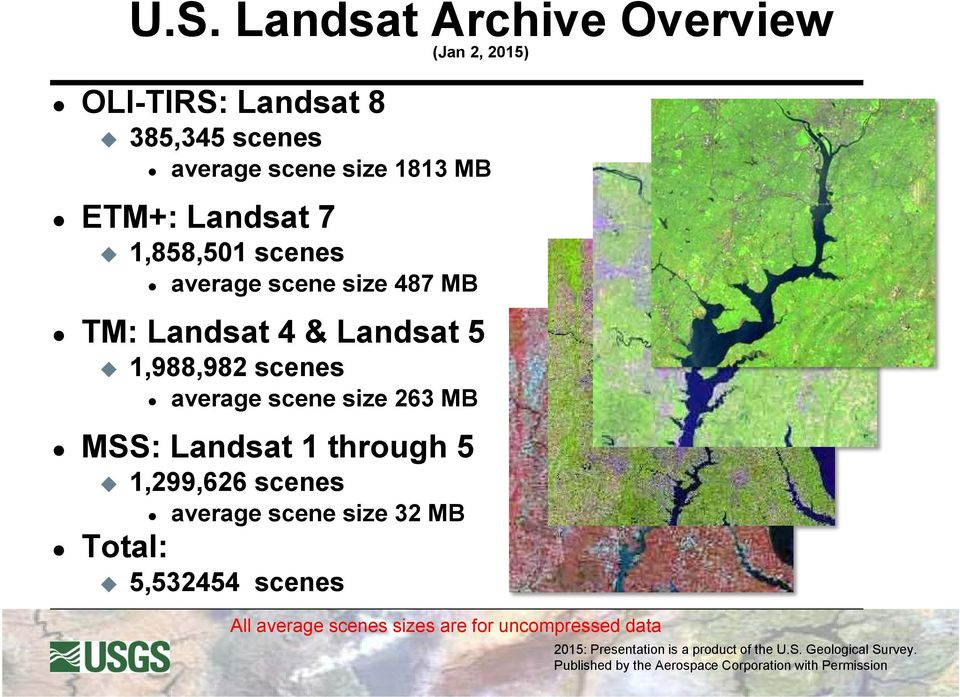 Landsat 5 1,988,982 scenes average scene size 263 MB MSS: Landsat 1 through 5 1,299,626
