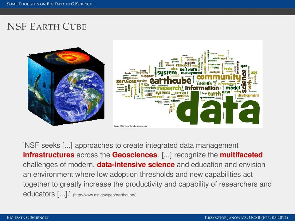 ..] recognize the multifaceted challenges of modern, data-intensive science and education and envision an