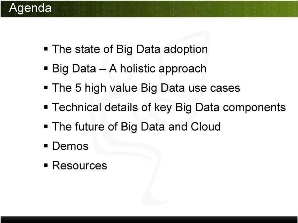 cases Technical details of key Big Data