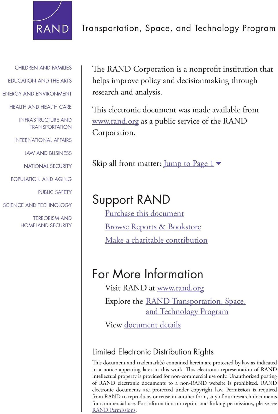 This electronic document was made available from www.rand.org as a public service of the RAND Corporation.
