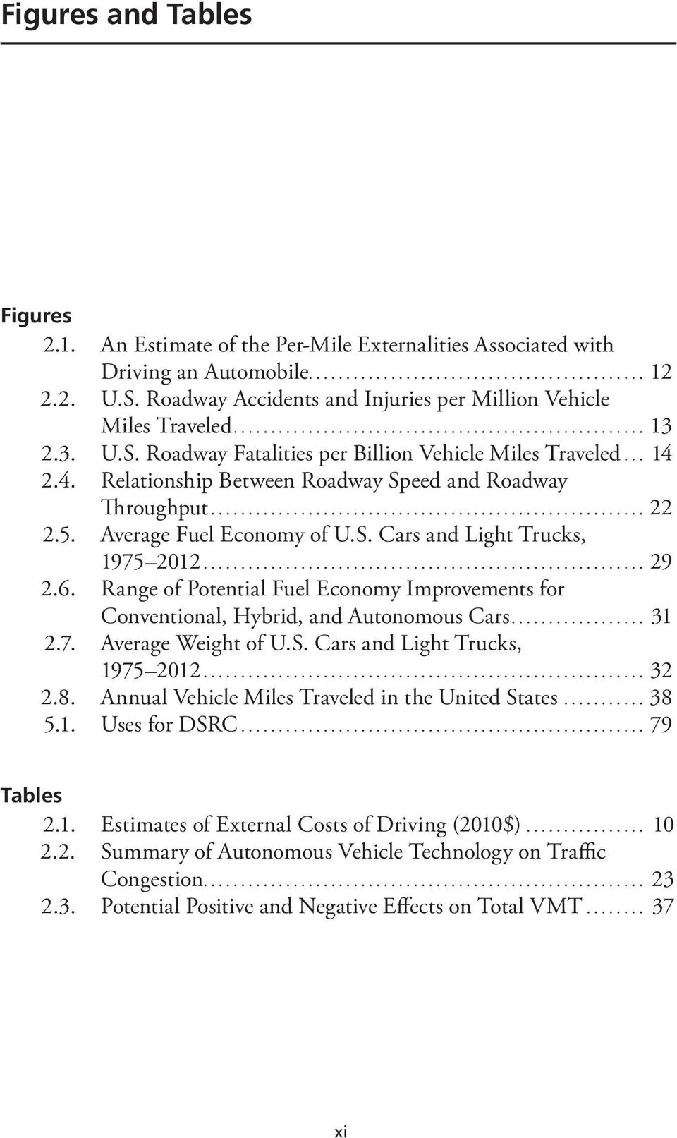 .. 29 2.6. Range of Potential Fuel Economy Improvements for Conventional, Hybrid, and Autonomous Cars... 31 2.7. Average Weight of U.S. Cars and Light Trucks, 1975 2012... 32 2.8.