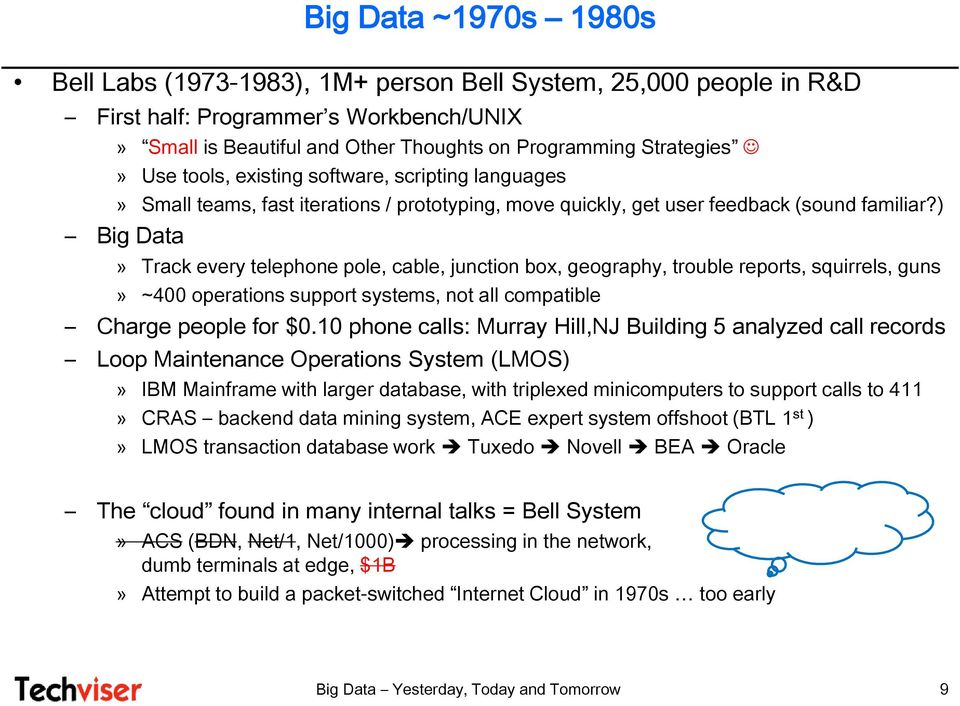 ) Big Data» Track every telephone pole, cable, junction box, geography, trouble reports, squirrels, guns» ~400 operations support systems, not all compatible Charge people for $0.
