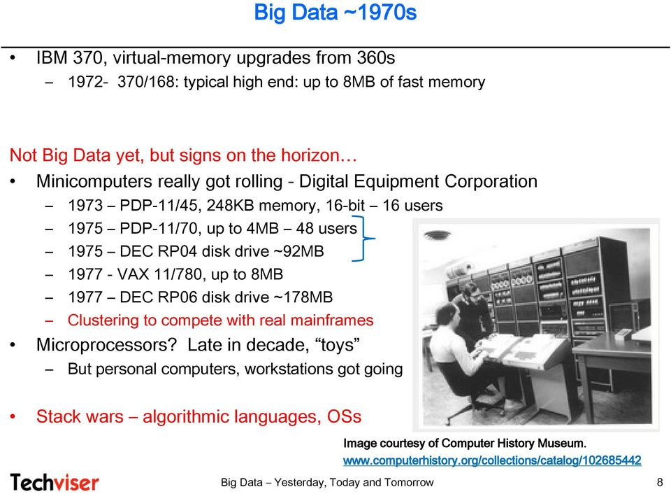 1977 - VAX 11/780, up to 8MB 1977 DEC RP06 disk drive ~178MB Clustering to compete with real mainframes Microprocessors?