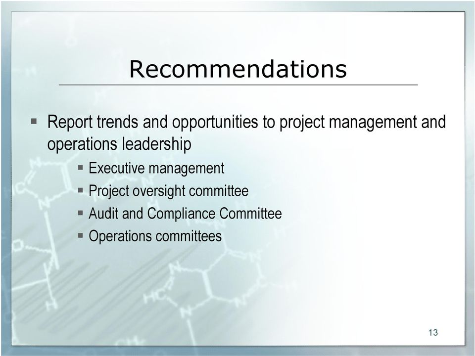 Executive management Project oversight committee