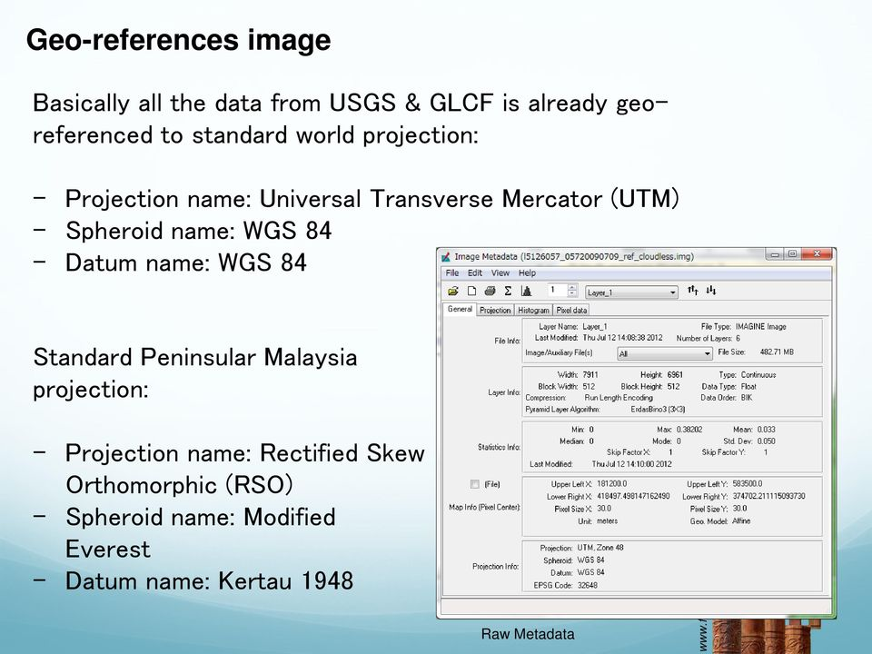 name: WGS 84 - Datum name: WGS 84 Standard Peninsular Malaysia projection: - Projection name: