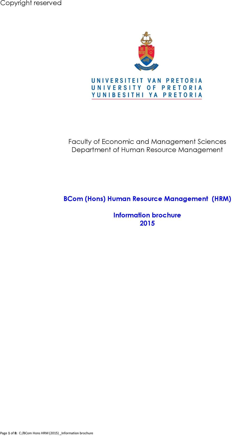 (Hons) Human Resource Management (HRM) Information