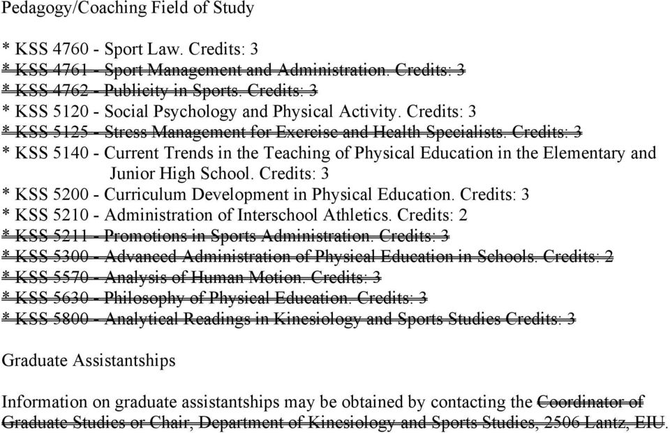 Credits: 3 * KSS 5140 - Current Trends in the Teaching of Physical Education in the Elementary and Junior High School. Credits: 3 * KSS 5200 - Curriculum Development in Physical Education.