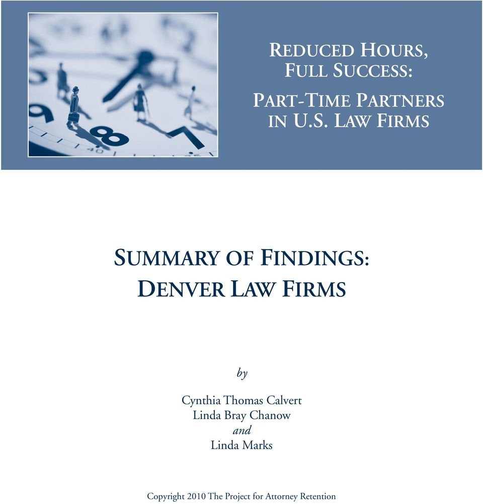 Law Firms SUMMARY OF FINDINGS: DENVER LAW