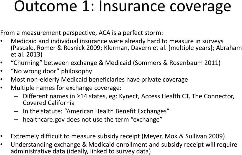 2013) Churning between exchange & Medicaid (Sommers & Rosenbaum 2011) No wrong door philosophy Most non elderly Medicaid beneficiaries have private coverage Multiple names for exchange coverage: