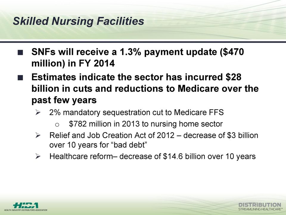 reductions to Medicare over the past few years 2% mandatory sequestration cut to Medicare FFS o $782 million