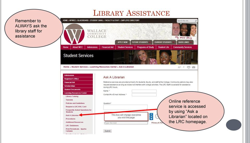 reference service is accessed by using