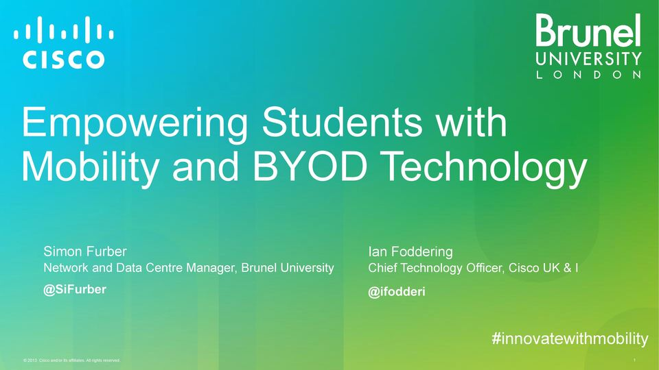 Foddering Chief Technology Officer, Cisco UK & I @ifodderi