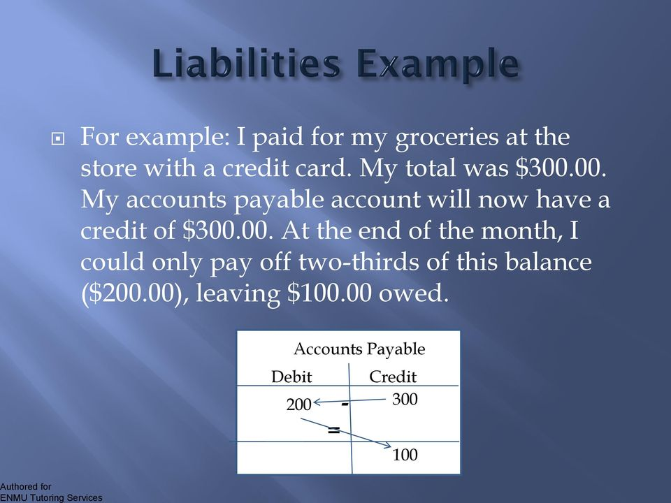 00. My accounts payable account will now have a credit of $300.00. At the