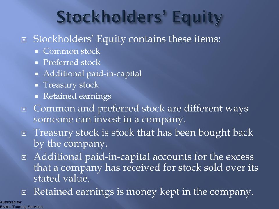 Treasury stock is stock that has been bought back by the company.