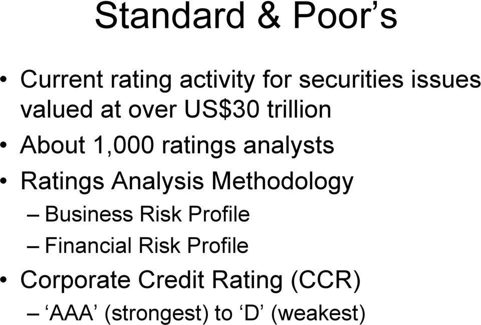 Ratings Analysis Methodology Business Risk Profile Financial