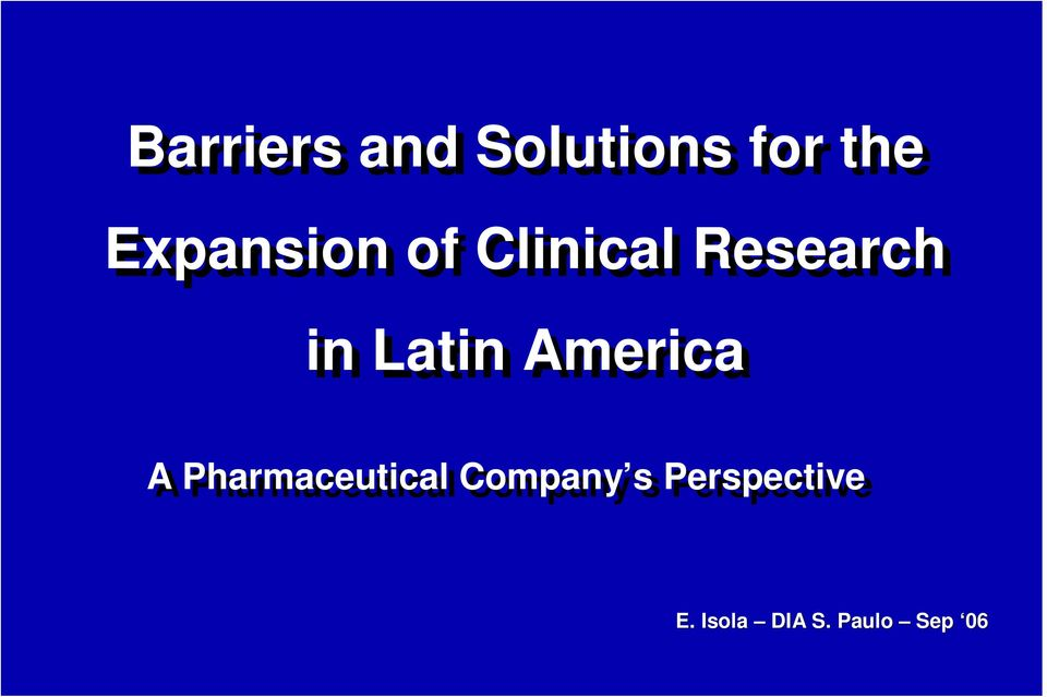 Latin America A Pharmaceutical