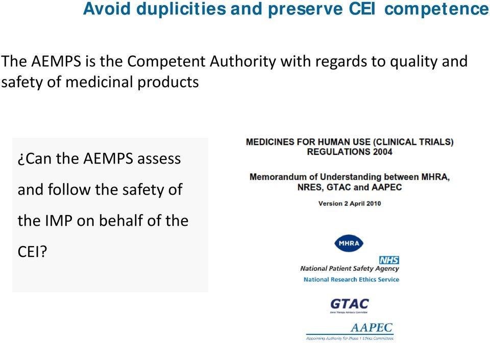 quality and safety ofmedicinal products Can the AEMPS
