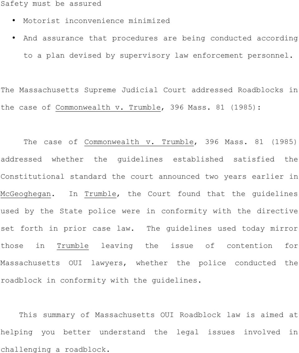 81 (1985): The case of Commonwealth v. Trumble, 396 Mass.