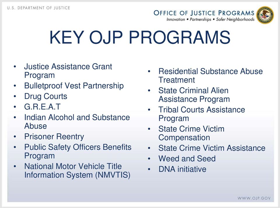 sistance Grant Program Bulletproof Vest Partnership Drug Courts G.R.E.A.