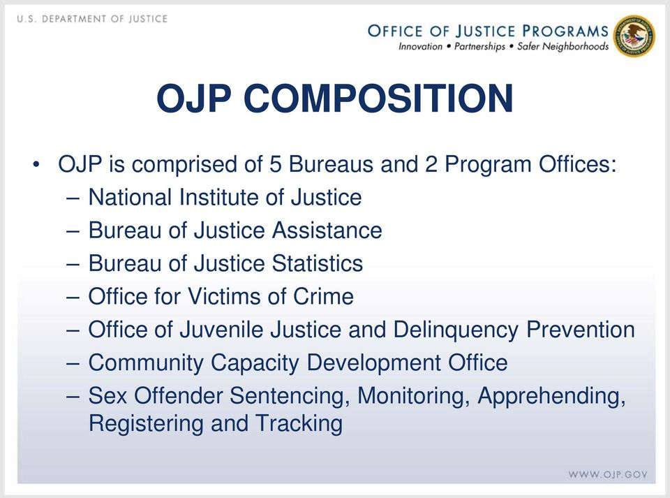 of Crime Office of Juvenile Justice and Delinquency Prevention Community Capacity