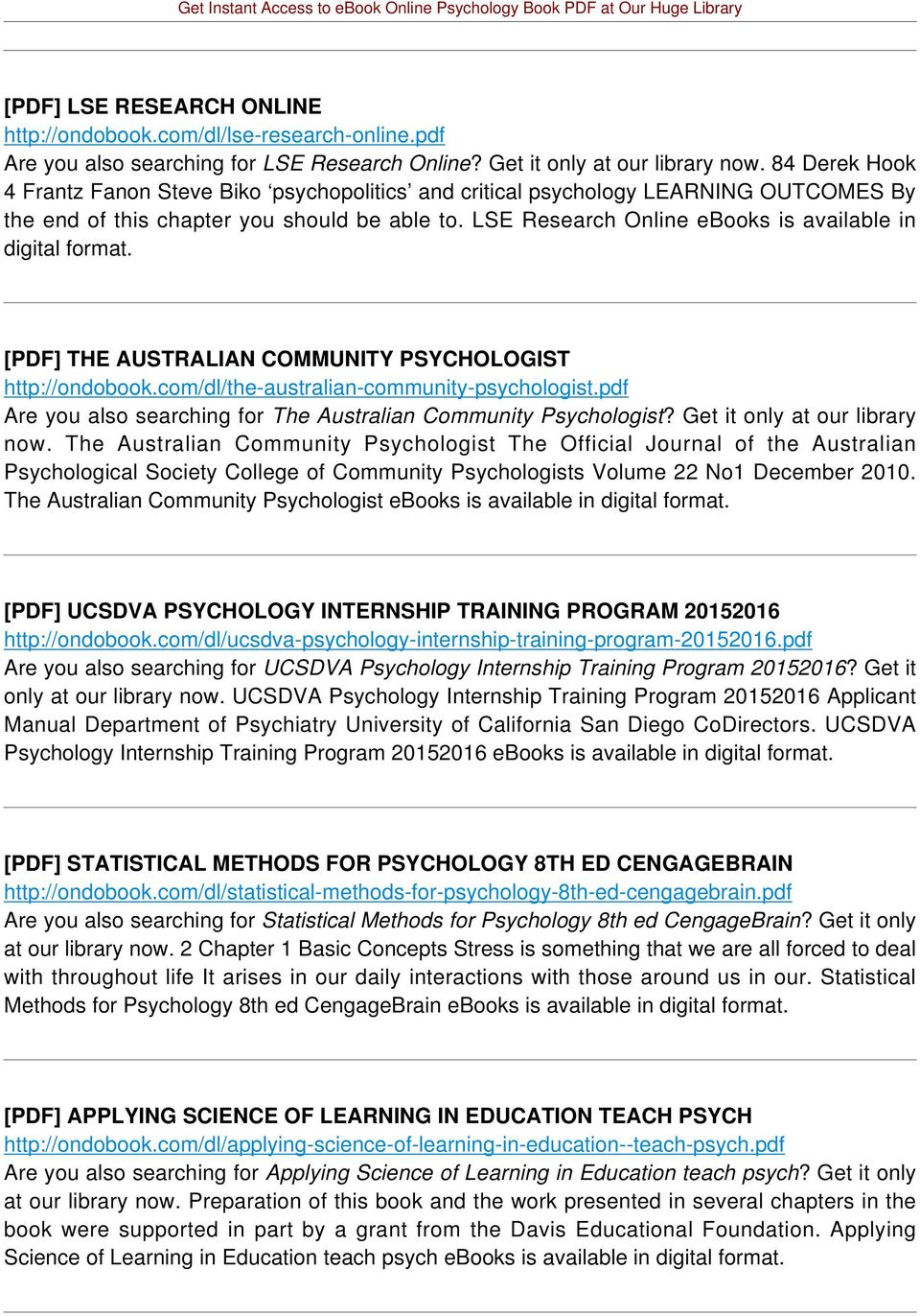 LSE Research Online ebooks is available in digital format. [PDF] THE AUSTRALIAN COMMUNITY PSYCHOLOGIST http://ondobook.com/dl/the-australian-community-psychologist.