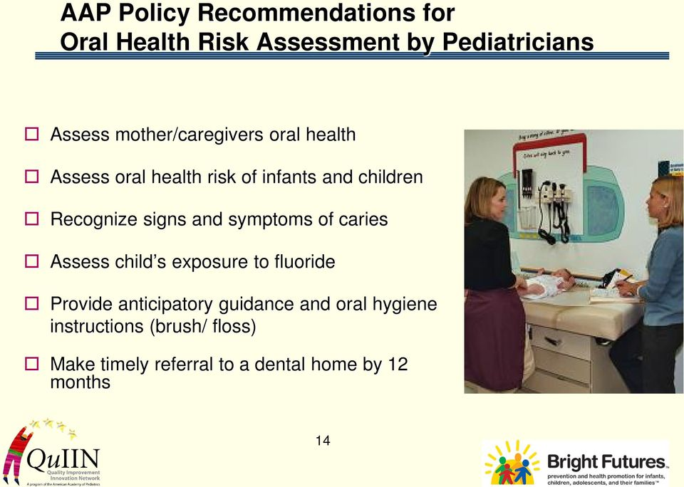 signs and symptoms of caries Assess child s exposure to fluoride Provide anticipatory