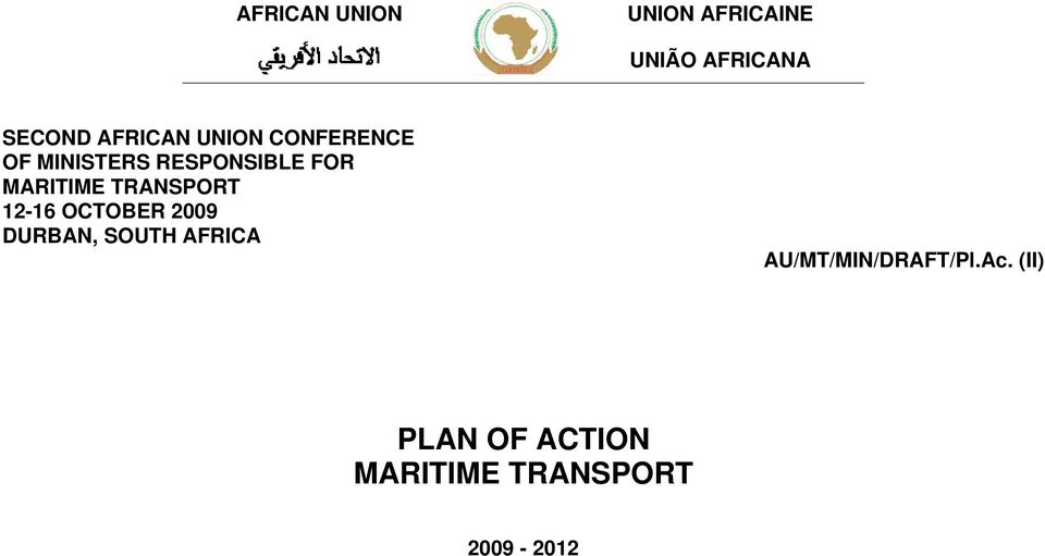 MARITIME TRANSPORT 12-16 OCTOBER 2009 DURBAN, SOUTH AFRICA