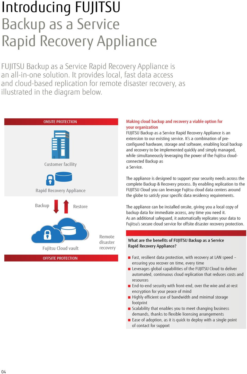 ONSITE PROTECTION Customer facility Rapid Recovery Appliance Making cloud backup and recovery a viable option for your organization FUJITSU Backup as a Service Rapid Recovery Appliance is an