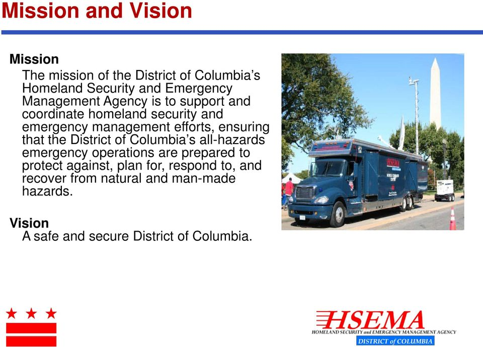 ensuring that the District of Columbia s all-hazards emergency operations are prepared to protect