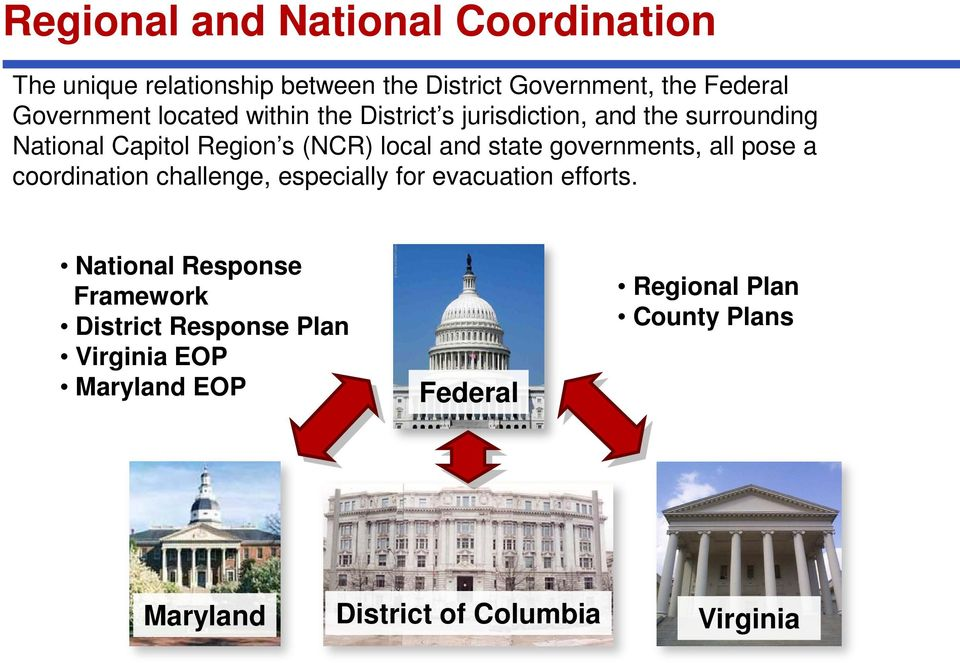governments, all pose a coordination challenge, especially for evacuation efforts.