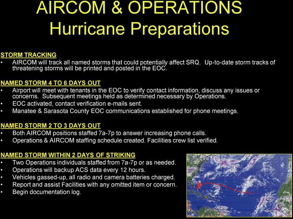 NAMED STORM 4 TO 6 DAYS OUT Airport will meet with tenants in the EOC to verify contact information, discuss any issues or concerns. Subsequent meetings held as determined necessary by Operations.
