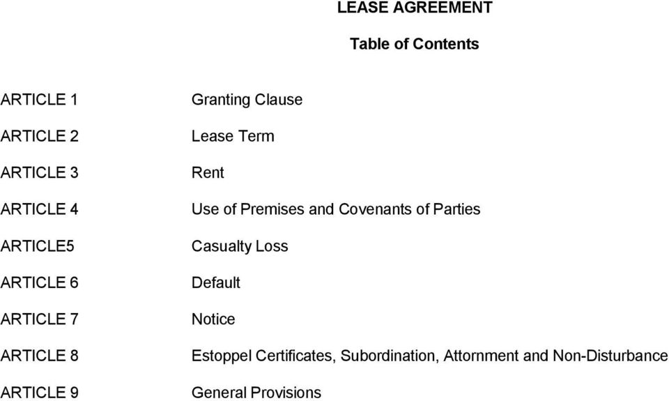 Rent Use of Premises and Covenants of Parties Casualty Loss Default Notice