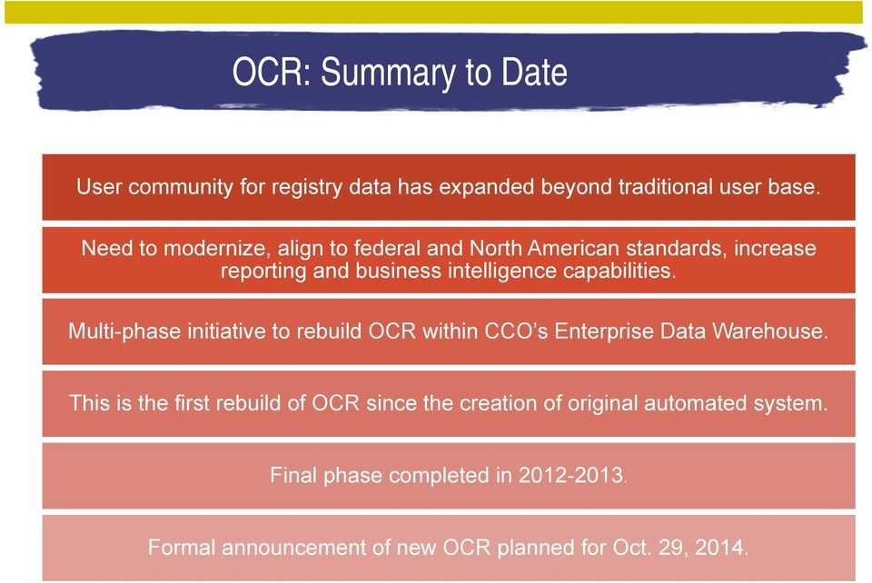 capabilities. Multi-phase initiative to rebuild OCR within CCO s Enterprise Data Warehouse.
