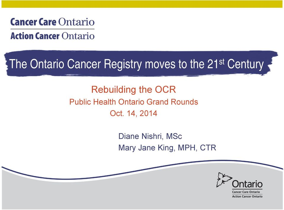 Health Ontario Grand Rounds Oct.