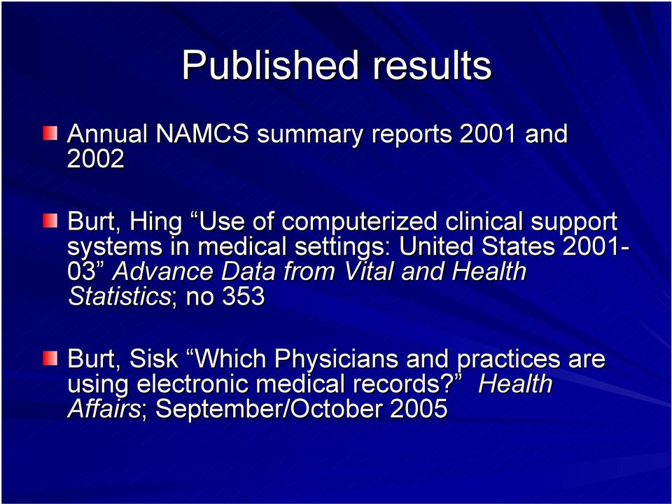 Advance Data from Vital and Health Statistics; ; no 353 Burt, Sisk Which Physicians