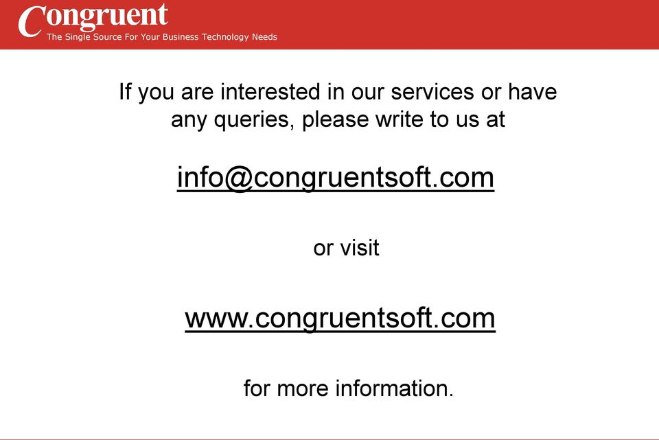 us at info@congruentsoft.